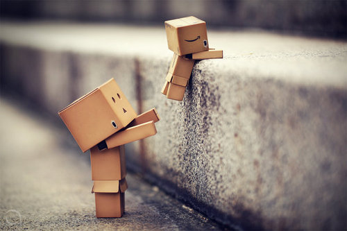 box, boxes, brown, cute, danbo, funny, little, street, wall