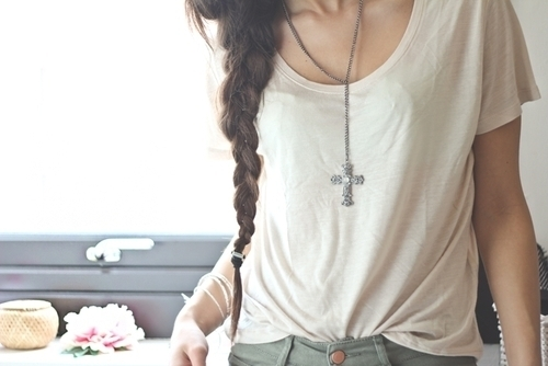braid, cross necklace, fashion, girl, pretty, summer