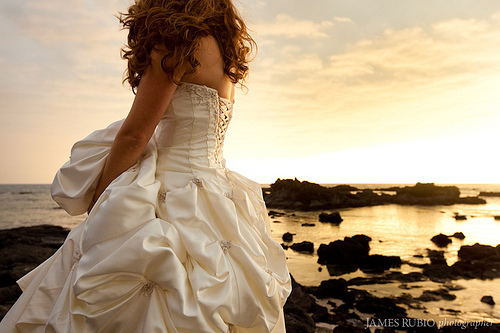 bride, dress, girl, gorgeous, happy, love, ocean, photography, redhead, rocks, summer, sun, sunset, sweet, wedding, wedding dress