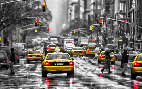 Cab, City, Lights, Red, Taxi