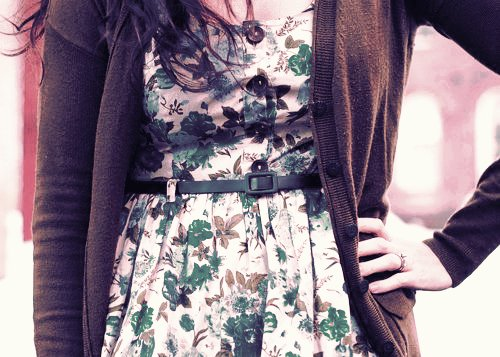cardigan, dress, fashion, floral, girly