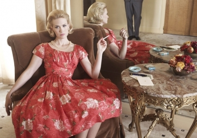 cigarette, dress, january jones, mad men, tobacco, vintage