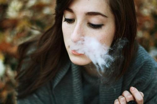 cigarrette, cute, girl, hair, make up