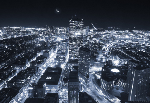 city, city lights, dark, lights, moon, night, separate with comma, sky