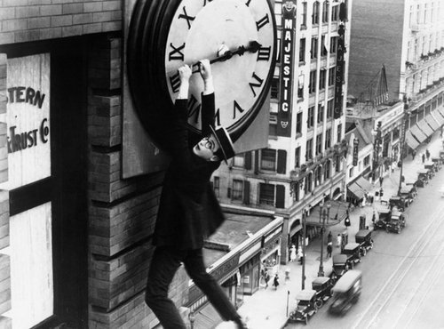 clock, eyeglasses, harold lloyd, history, men, old, retro, silent movie, style, vintage