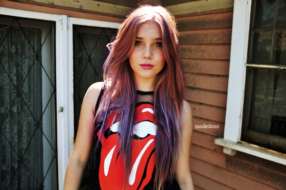 colored, cool, cute, hair dye, ombre, pink hair, pretty, rolling stones