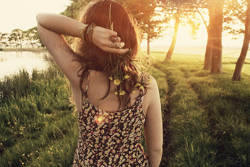cute, fashion, flowers, girl, grass