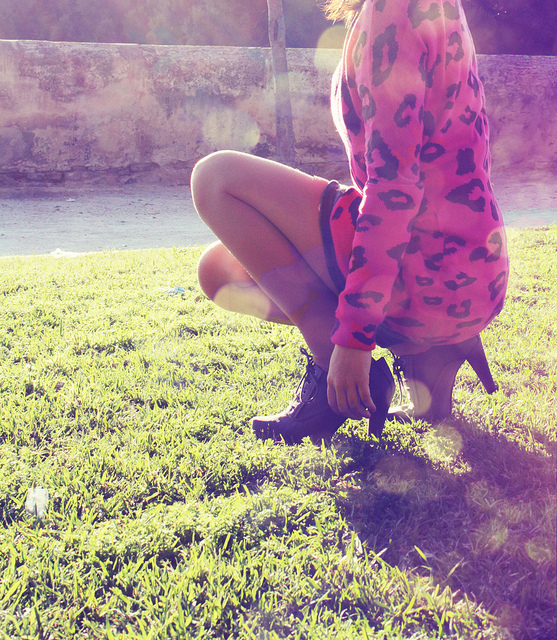 cute, girl, grass, green, heels, high heels, legs, leopard, pink, pretty, skirt