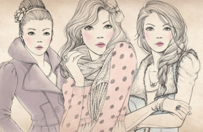 draw, drawing, fashion, girls, illustration, pretty, separate with comma
