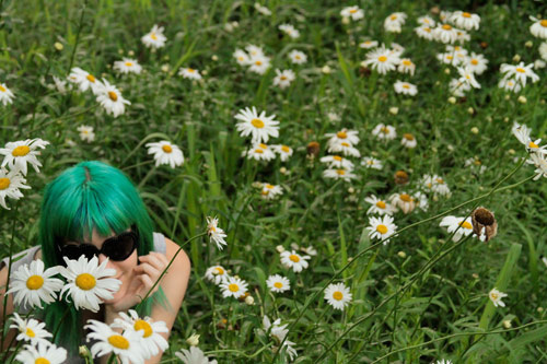 flowers, green hair, marimoon