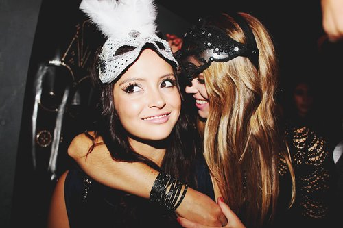 girls, masks, party
