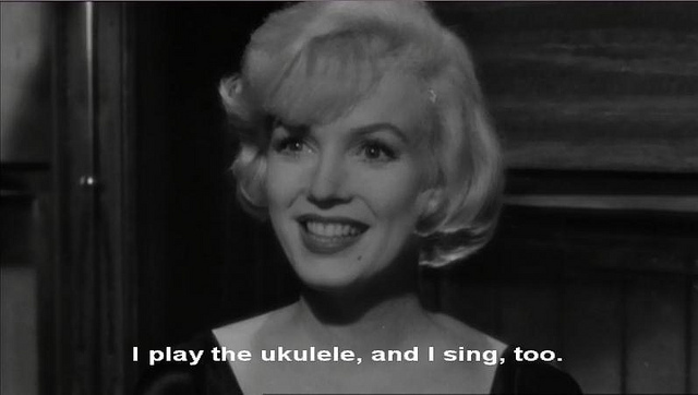marilyn monroe, some like it hot, subtitles, sugar kane, ukulele