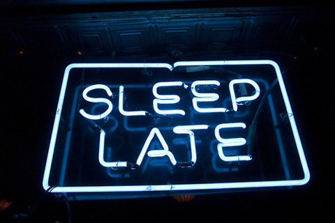 neon, sign, sleep late