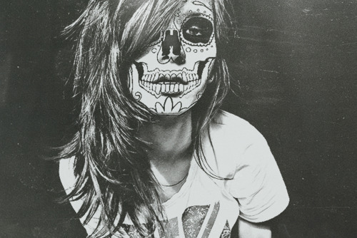 adorable, b&w, black and white, cute, dead, eyes, girl, hair, perfect, photography, sugar skull, tattoo