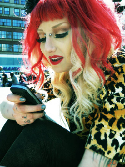 adorable, beautiful, cell phone, fashion, girl, hair, pin up, red hair, red head, rockabilly, style, woman