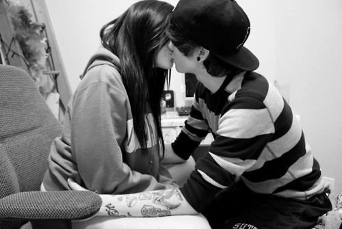 adorable, black and white, boy, cap, clothes, couple, cute, fashion, forever love, girl, hair, happy, hat, hoodie, kiss, love, photography, relationship, separate with comma, sweater, tattoos, teenagers
