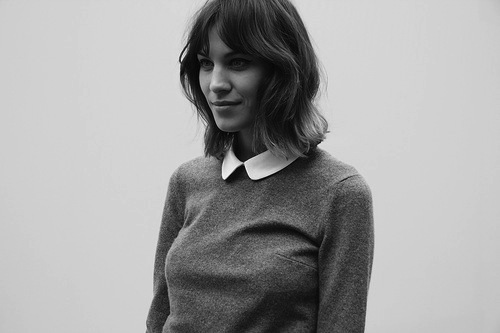 alexa chung, black and white, blouse, fashion, hair