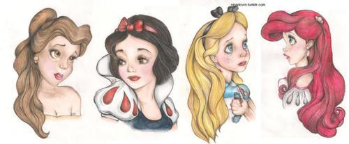 alice, alice in wonderland, ariel, beauty and the beast, belle, cute, disney, draw, princess, snow white, the little mermaid