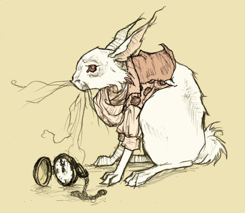 alice in wonderland, art, clock, illustration, rabbit