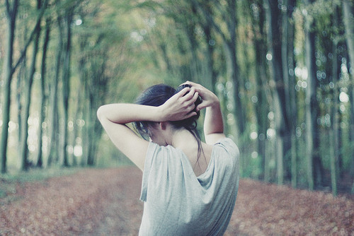 alone, arms, forest, girl, hair, hands, leafs, outside, path, photograph, picture, trees, vintage, woods
