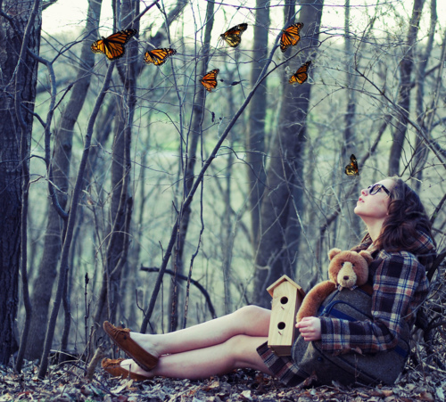 alone, autumn, bear, beauty, brown hair, butterflies, fashion, forest, girl, glasses, legs, photography, plush, profile, tree, trees