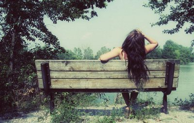 alone, bench, girl