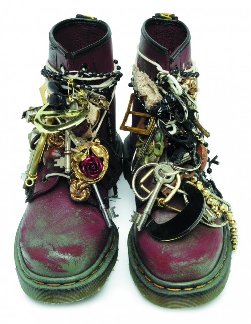 amazing, audrey kitching, boots, chains, charms, cherry, combat, diy, doc martens, docs, dr martens, embellished, fashion, gold, hipster, jewelry, key, rose, shoes, studs