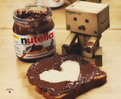 amazon, cardboard box, heart, nutella, sweet, toast
