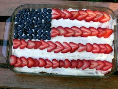 america, blueberries, cake, delicious, flag