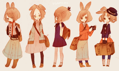 anime, bunny, draw, fashion, five