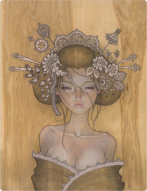 art, asian, audrey kawasaki, beautiful, drawing, girl, hair, painting, pretty