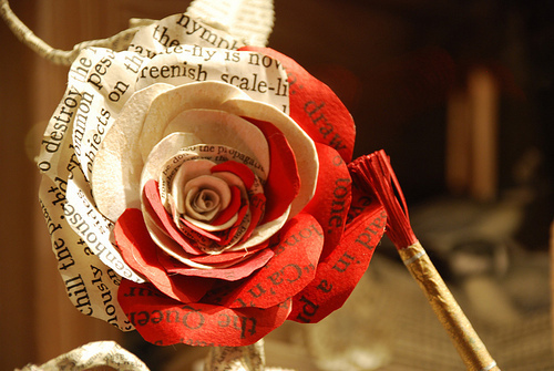 art, beauty, cute, girl, newspaper, paper, red, rose