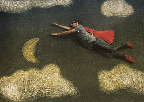 asphalt, cape, cloud, drawing, fly, flying, moon, superman