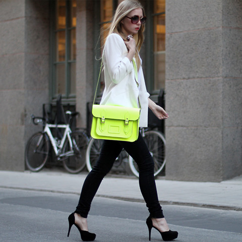 bag, blonde, cambridge satchel, carolina engman, fashion, fasion, girl, gorgeous outfit, hair, indie, lookbook, neon, outfit, outfits, shoes