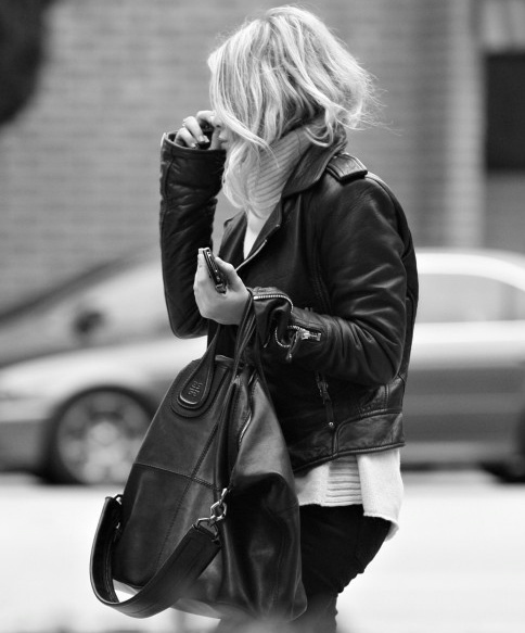 bag, blonde, fashion, girl, jacket, leather, leather jacket, model, style