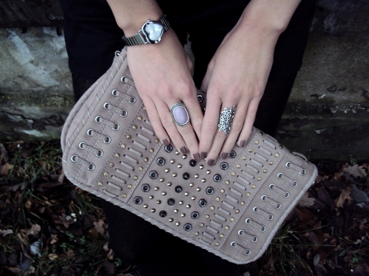 bag, brown nails, clutch, cute, fashion