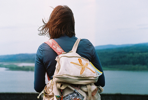 bag, girl, green, hair, inmyownview, nature, photography, river, wild