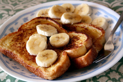 bananas, breakfast, food, french toast, fruit, syrup