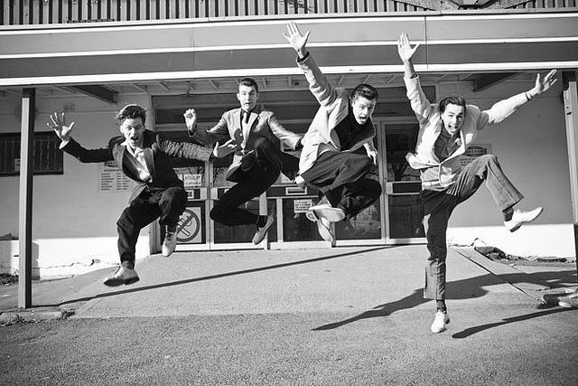band, black and white, boys, rockabilly, vintage