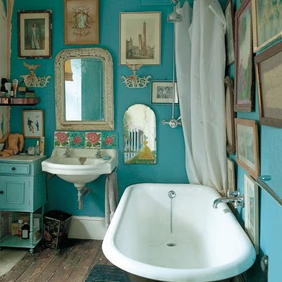 bathroom, blue, vintage