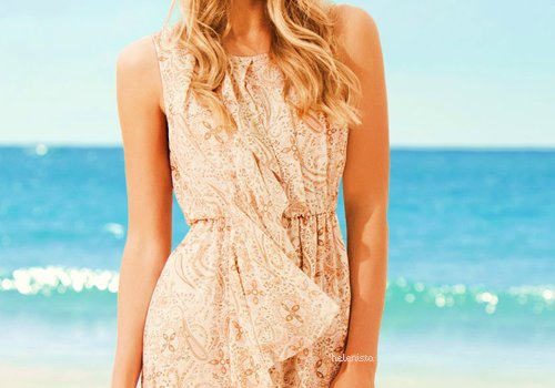 beach, blonde, dress, h&m, holiday, jorika, long hair, model, ocean, pink, sea, separate with comma, skinny, summer, white