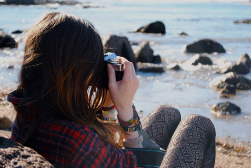 beach, camera, girl, photographie