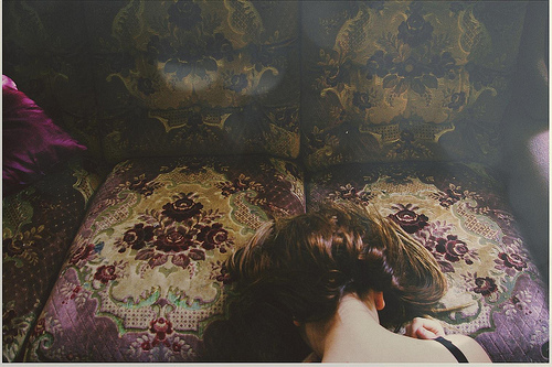 beautiful, couch, floral, fragile, girl, hair, hide, light, lights, photography, secret, sofa, vintage