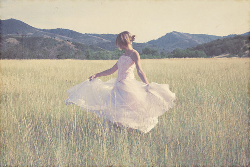 beautiful, dress, field, girl, grass
