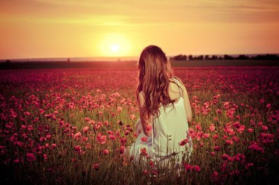 beautiful, dress, field, girl, peaceful, pink flowers, sunset