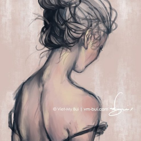 beautiful, girl, illustration, paint