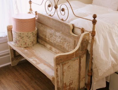 bed, bedhead, bedstead, bench, cottage