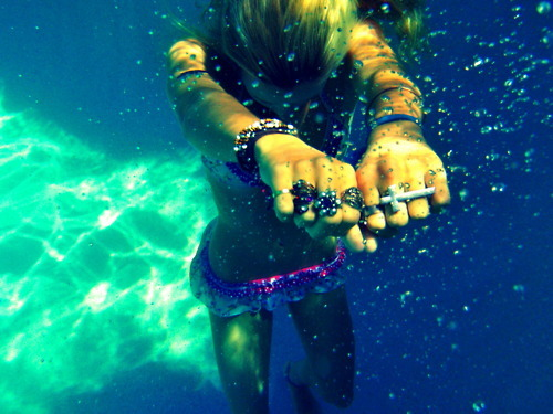 bikini, blonde, bracelet, cross, fashion, flower, girl, ring, rings, summer, swim, swimming, underwater, water