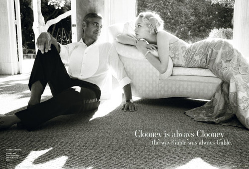 black and white, gemma ward, george clooney, vanity fair