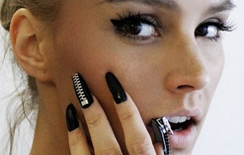 black, black nails, eyes, girl, make up